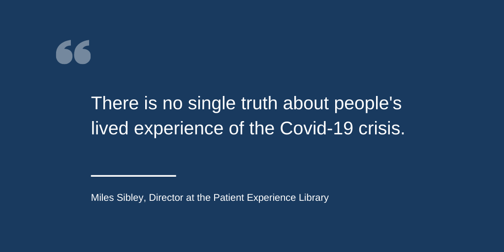 Quote from blog post saying that there is no one experience about Covid-19