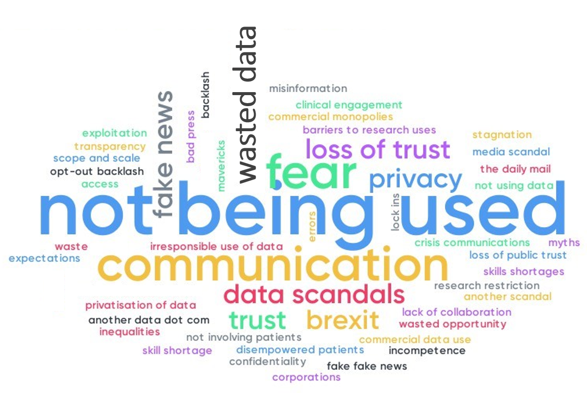 A wordcloud of responses to the question 'what are you most concerned about for health data in the next five years?' The most popular responses were: not being used, fear, communication, loss of trust, privacy, data scandals and fake news.
