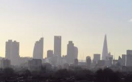 Polluted London skyline